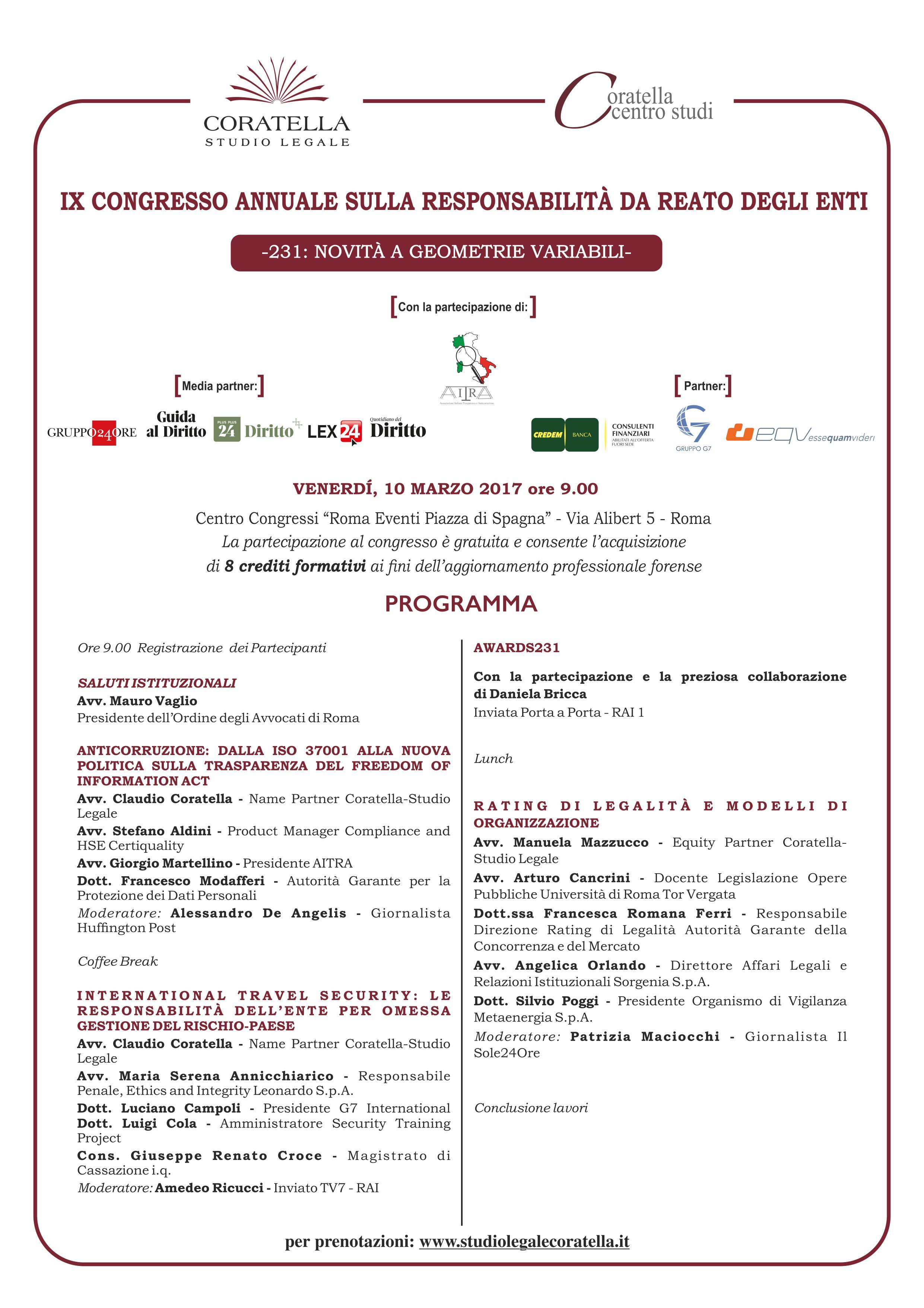 IX Congresso Annuale sulla Responsabilità da Reato degli Enti